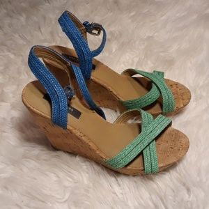 Ann taylor colorful strappy wedges